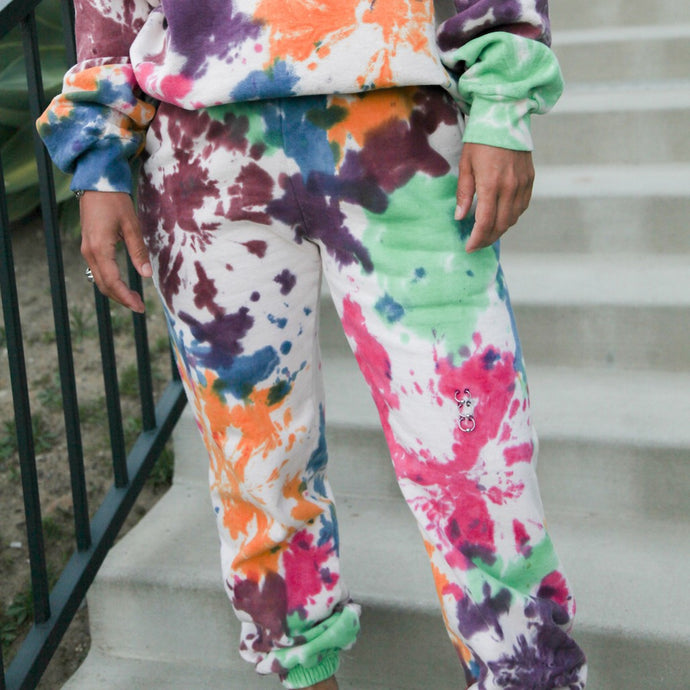 Kkco - Pierced Sweatpant - Tie Dye, front view, available at LCD.
