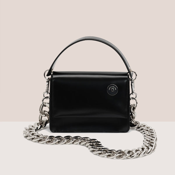 Kara - Baby Pinch Shoulder Bag With Chain - Black, available at LCD.