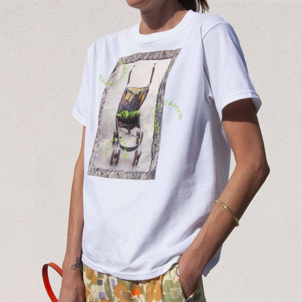 Collina Strada - Plant Based Tee, angled view, available at LCD.