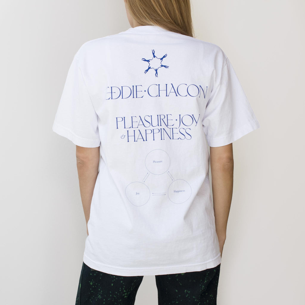 Eddie Chacon - Pleasure Joy & Happiness Tee - Short Sleeved, back view, available at LCD.