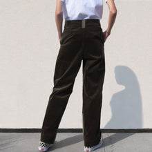 Load image into Gallery viewer, Ganni - Pleat Pants - Kalamata Green, back view, available at LCD.
