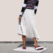 Load image into Gallery viewer, PSWL - Midi Pleated Skirt - White & Black Bear, back view, available at LCD.