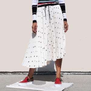 PSWL - Midi Pleated Skirt - White & Black Bear, front view, available at LCD.