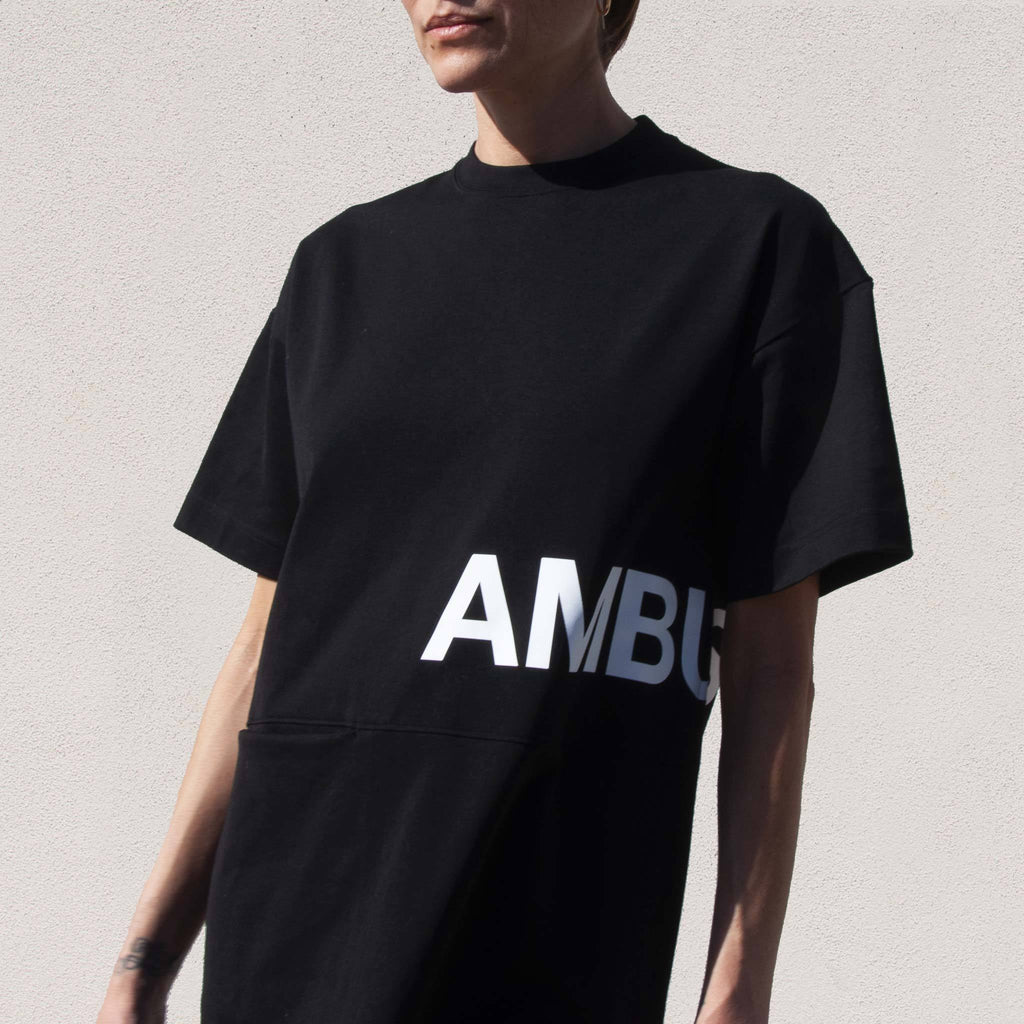 Ambush - Pocket T-Shirt Dress, front detail, available at LCD.