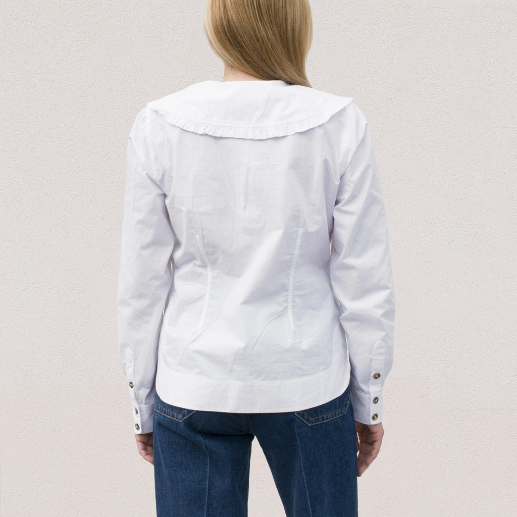 Ganni - Poplin V-Neck Shirt - White, back view.
