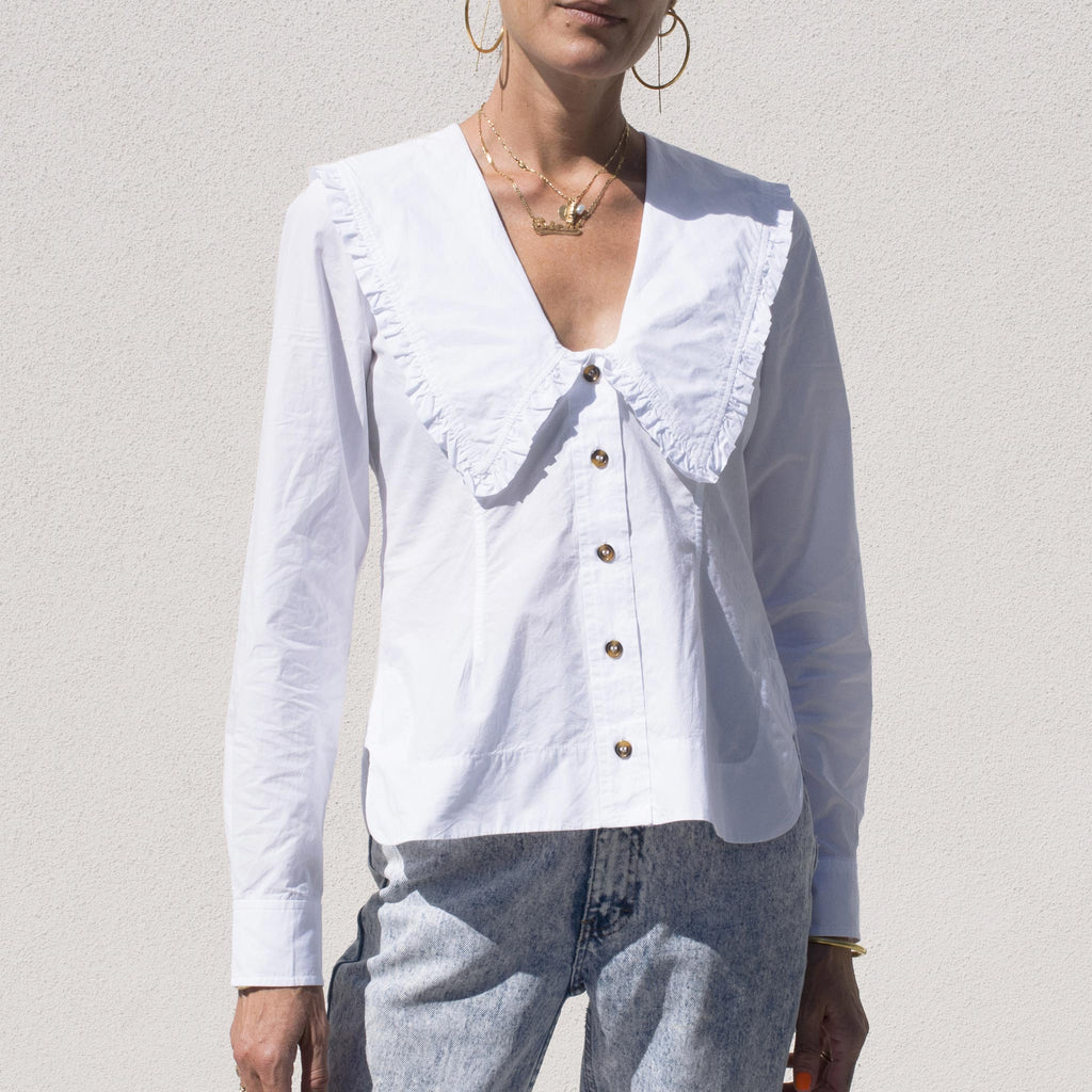 Ganni - Poplin V-Neck Shirt - White, front view.