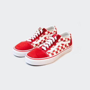Vans - Primary Check Old Skool - Racing Red and White, available at LCD