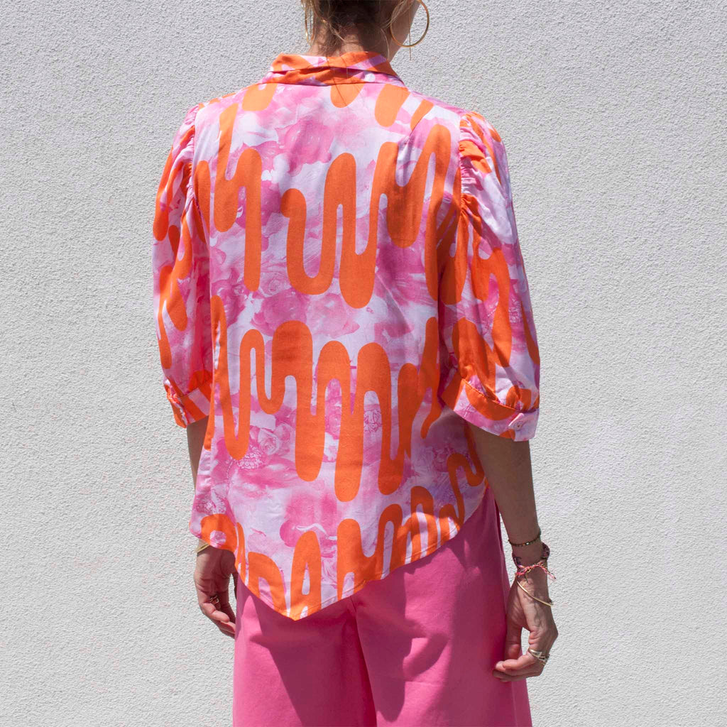 Collina Strada, Princess Button Up - Pink Loopy, available at LCD.