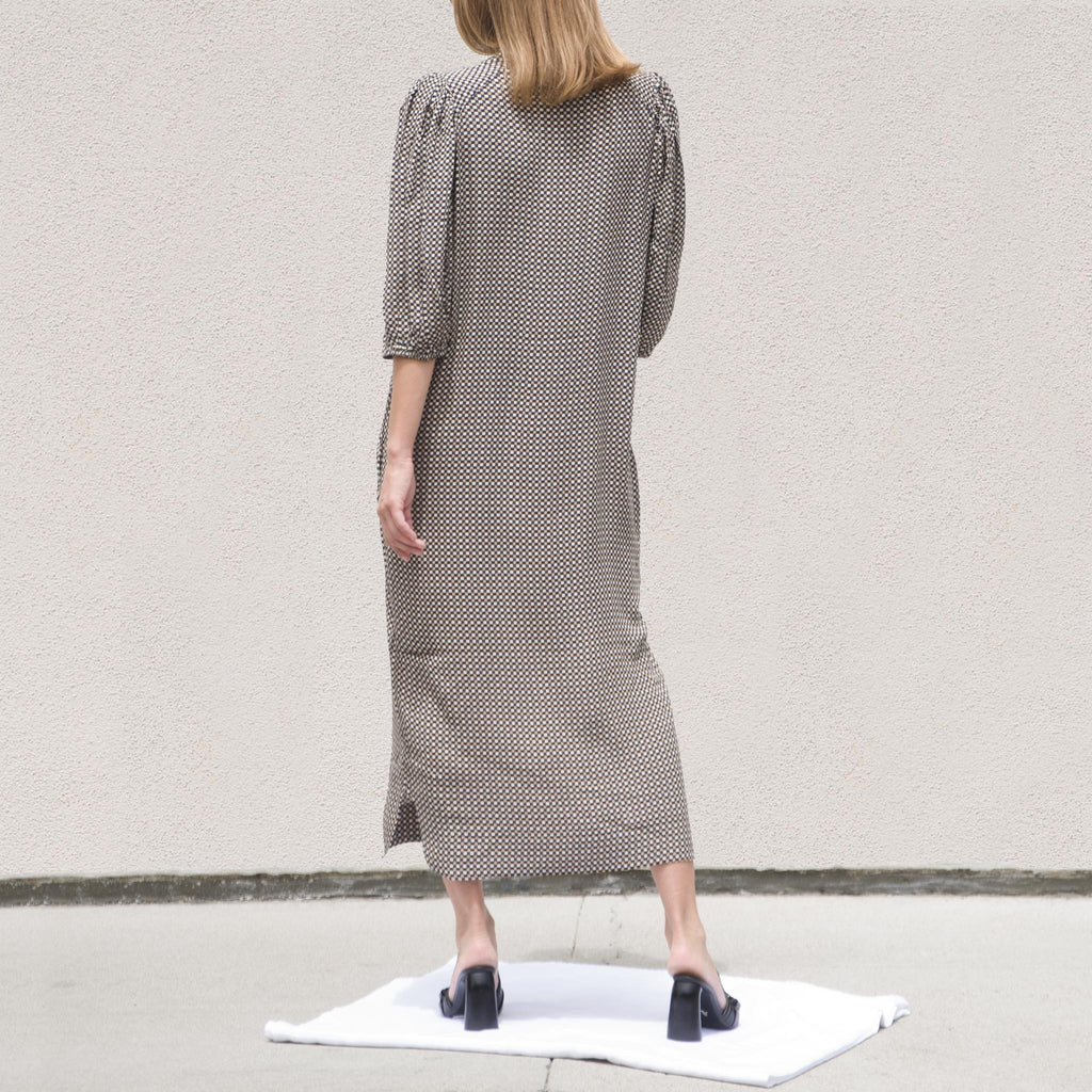 Ganni - Printed Crepe Shirtdress - Tannin, back view, available at LCD.