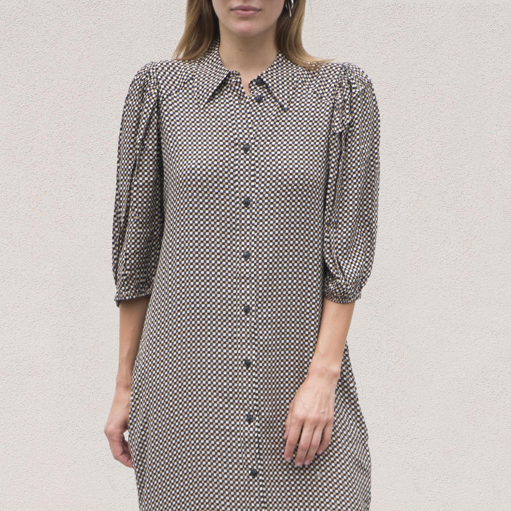 Ganni - Printed Crepe Shirtdress - Tannin, front detail, available at LCD.