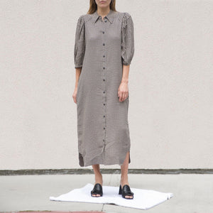 Ganni - Printed Crepe Shirtdress - Tannin, front view, available at LCD.