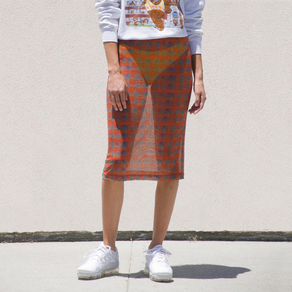 Stussy - Printed Plaid Mesh Tube Skirt - Red, front view, available at LCD.