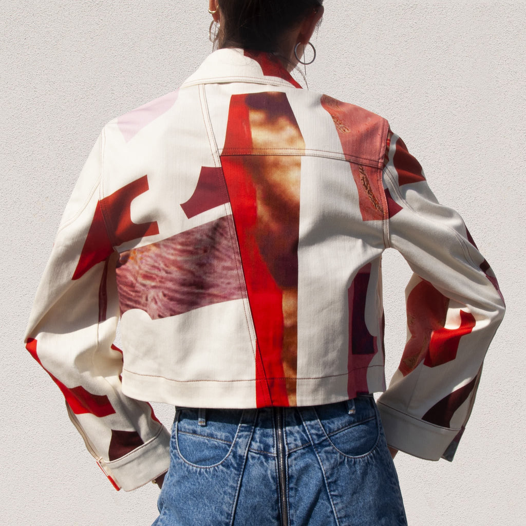 Lorod - Printed Trucker Jacket, back detail, available at LCD.