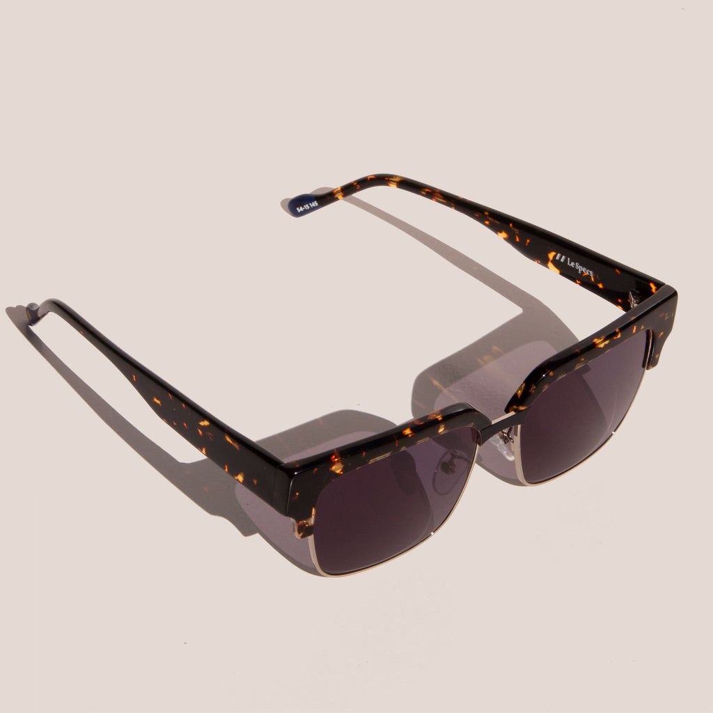 Le Specs - Pseudo Sunglasses - Tokyo Tortoise & Gold, angled view, available at LCD.