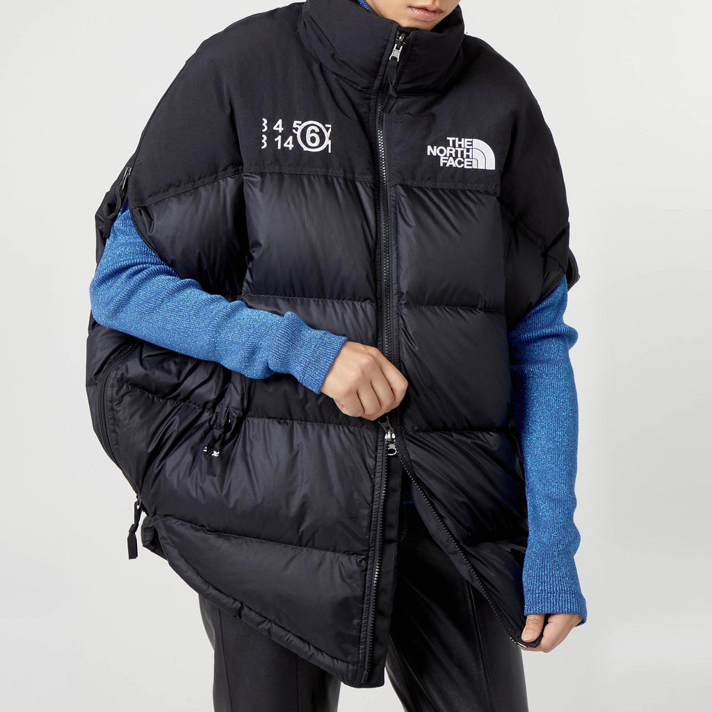 MM6 - Puffer Circle Vest - Black, front view.