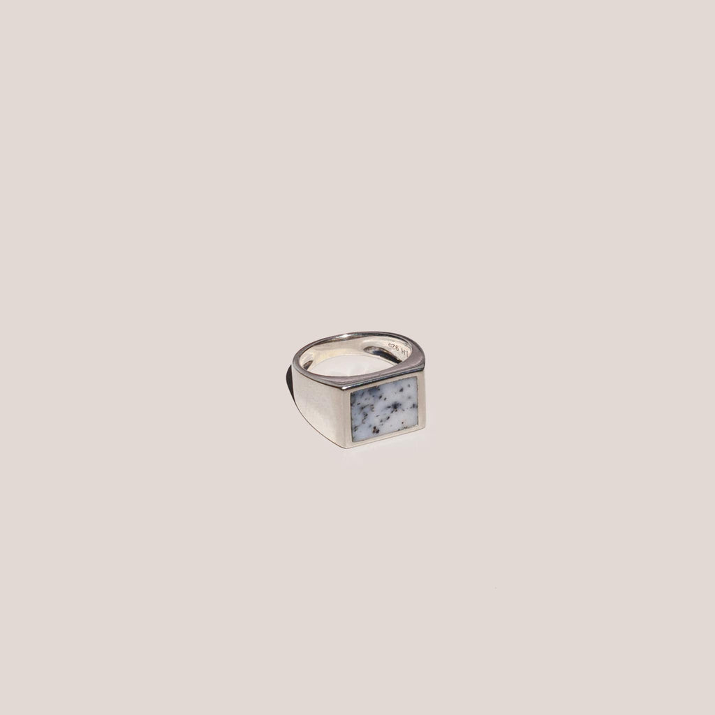 J.Hannah - Rectangle Inlay Signet Ring, angled view, available at LCD.