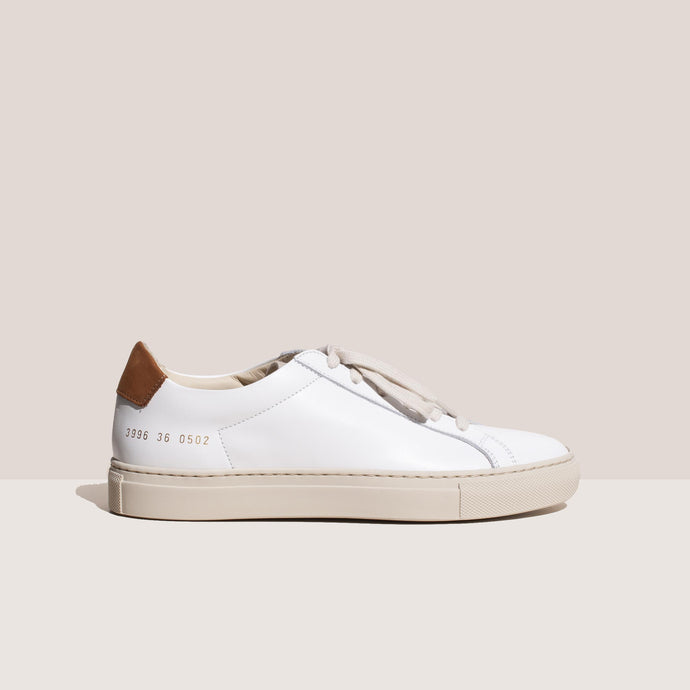 Common Projects - Retro Low - Tan & White, side view, available at LCD.