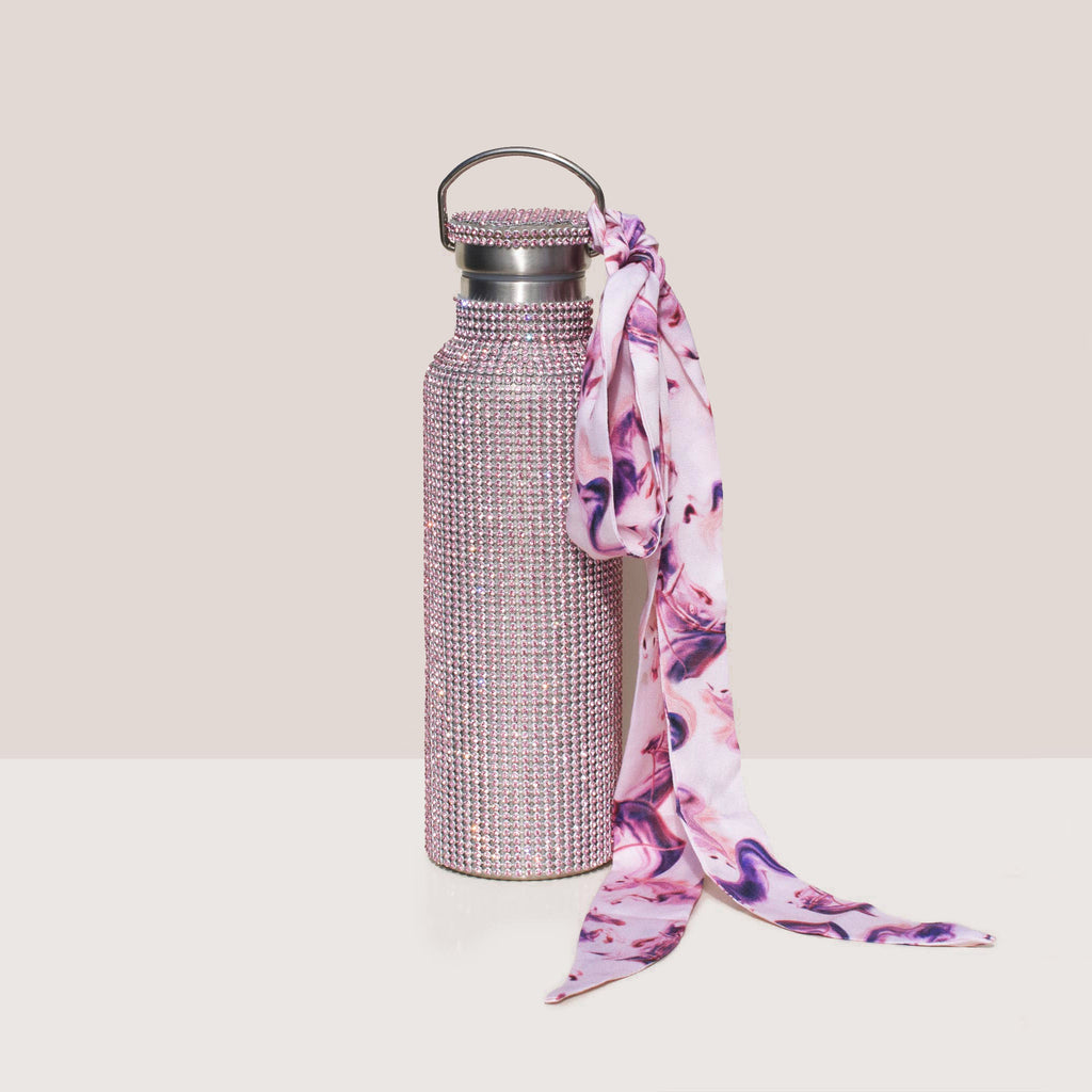 Collina Strada - Rhinestone Water Bottle - Pink Ribbons, front view.