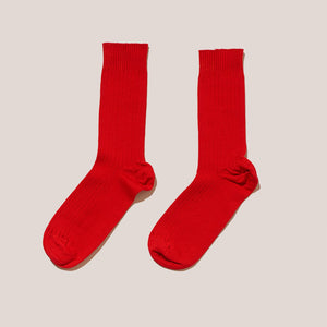 Baserange - Rib Ankle Socks - Blood Red, available at LCD.