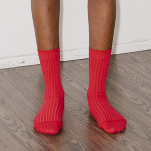 Baserange - Rib Ankle Socks - Blood Red, front view, available at LCD.