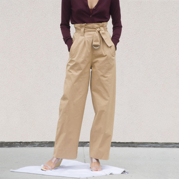 Ganni - Ripstop Belt Pants - Tannin, front view, available at LCD.