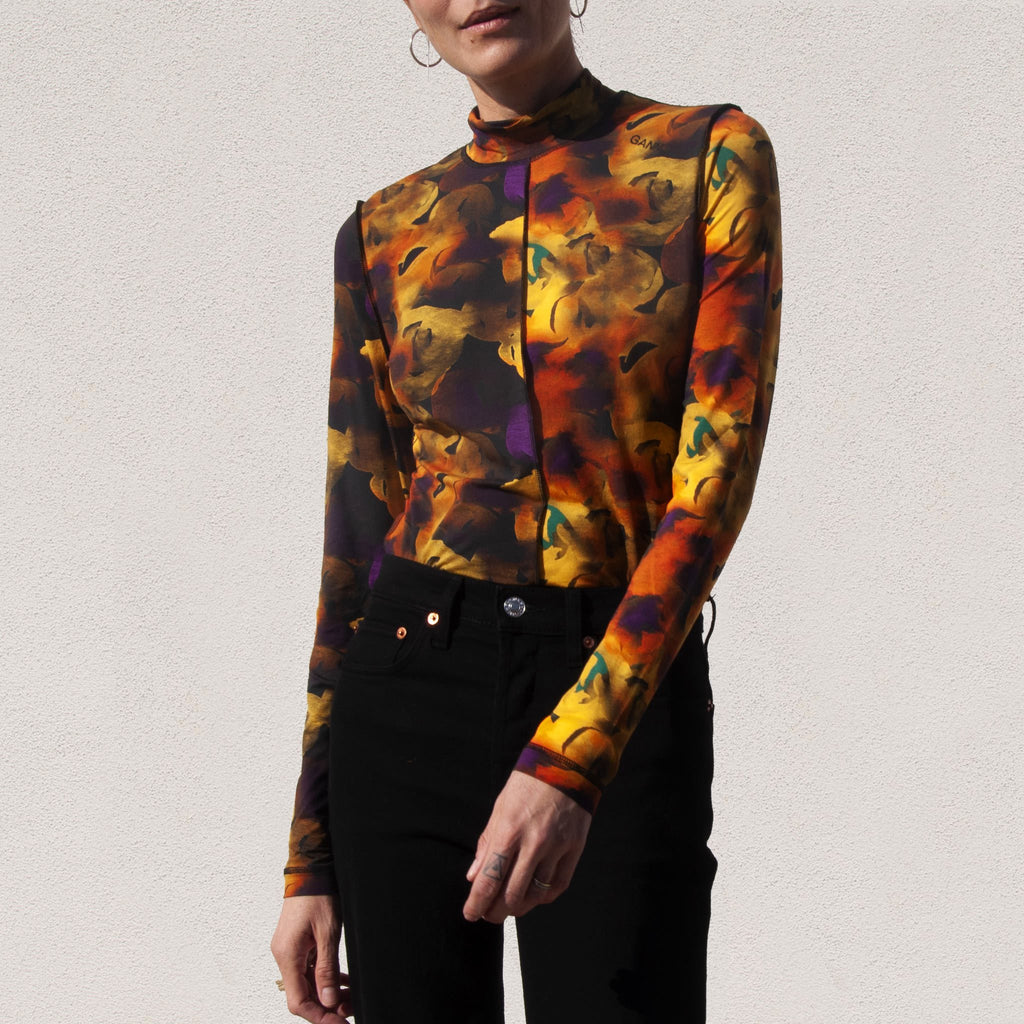 Ganni - Rollneck Longsleeve Floral Tee - Lemon, front view, available at LCD.