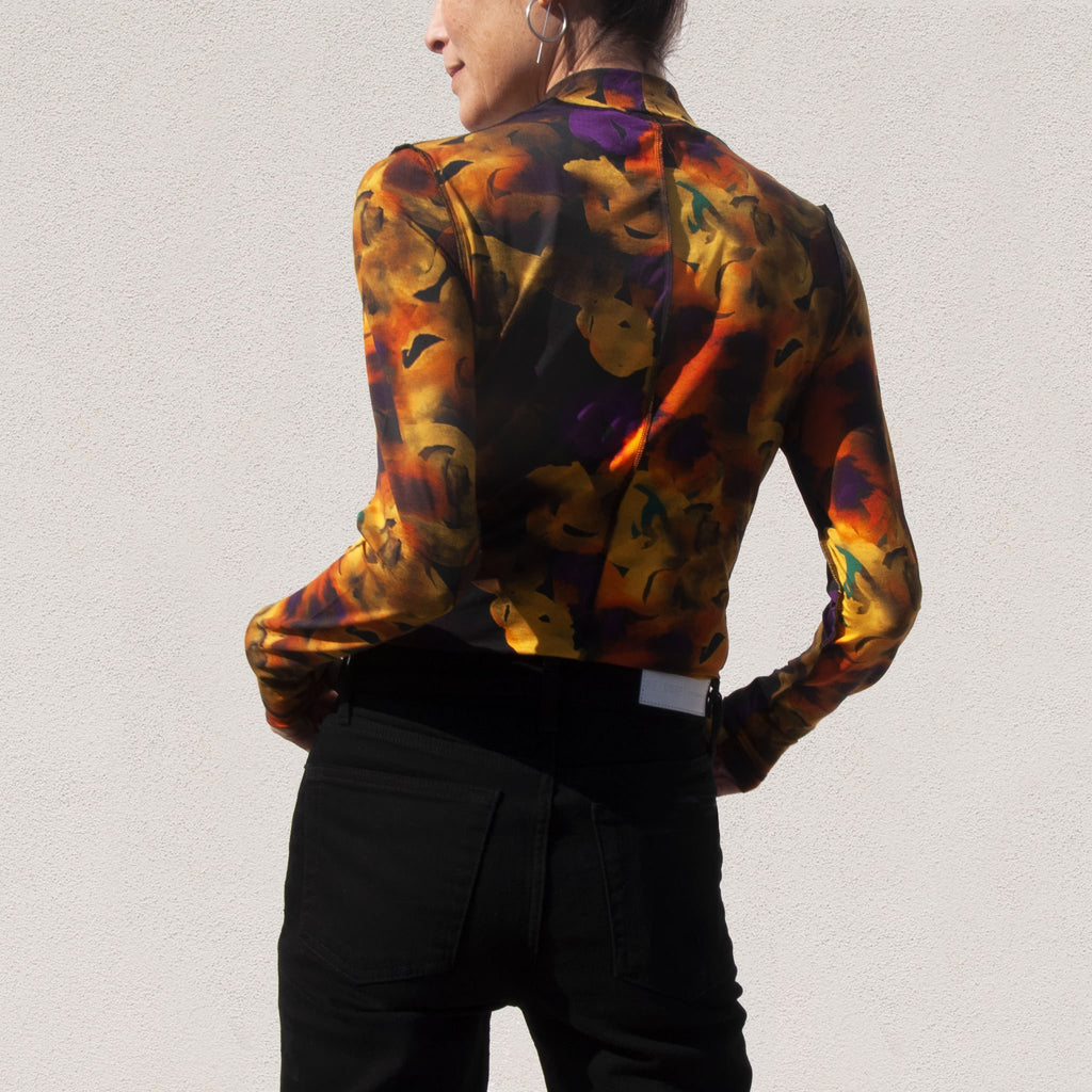 Ganni - Rollneck Longsleeve Floral Tee - Lemon, back view, available at LCD.