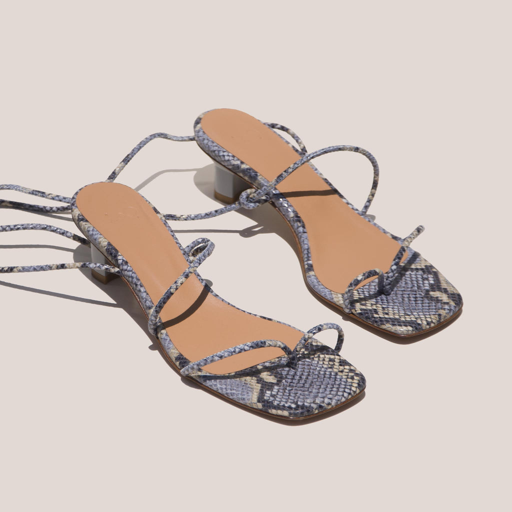 LoQ - Roma Sandals - Luna Snake, angled view, available at LCD.