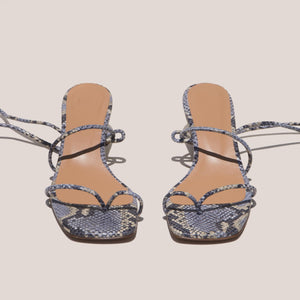 LoQ - Roma Sandals - Luna Snake, front view, available at LCD.