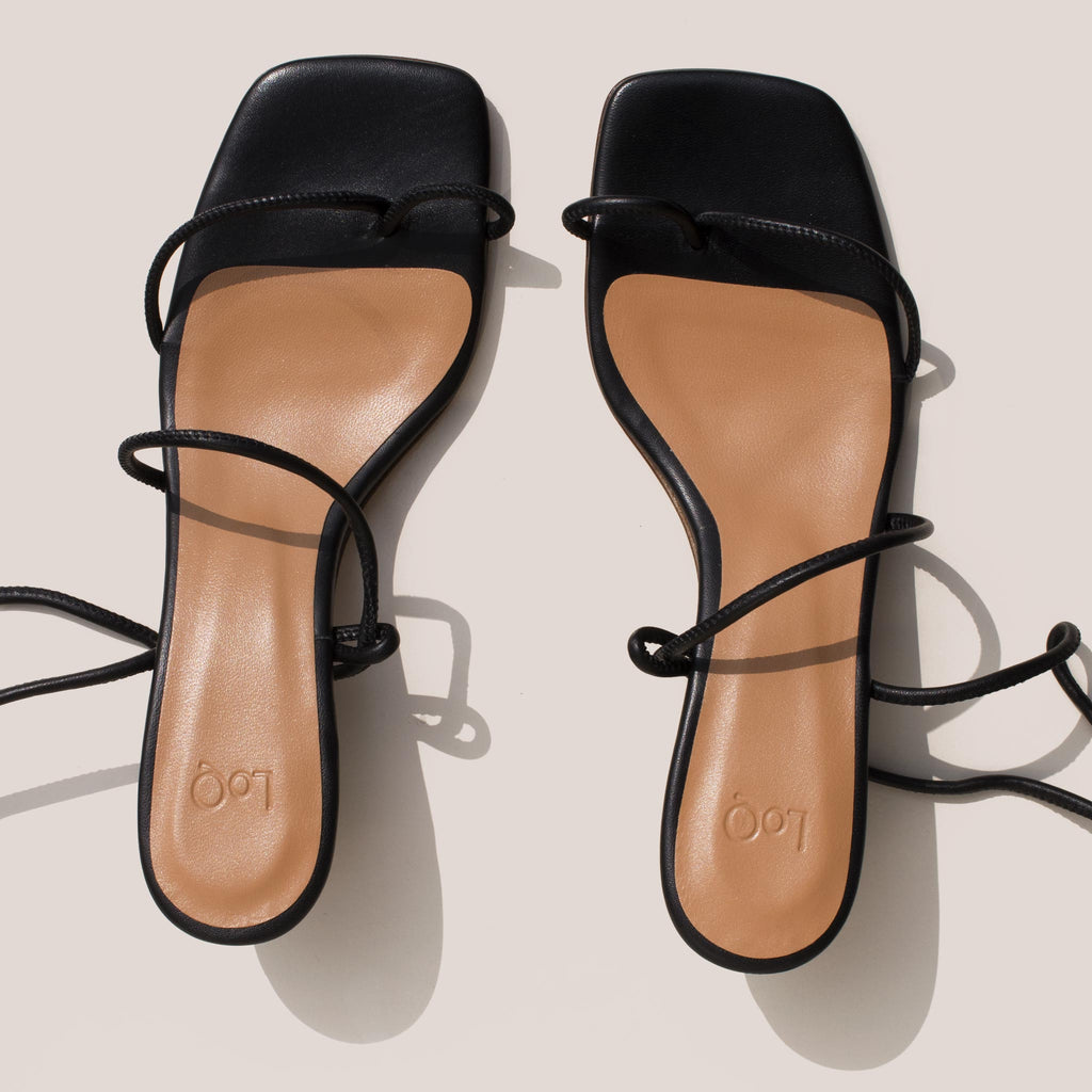 Loq - Roma Sandals - Black, aerial view.