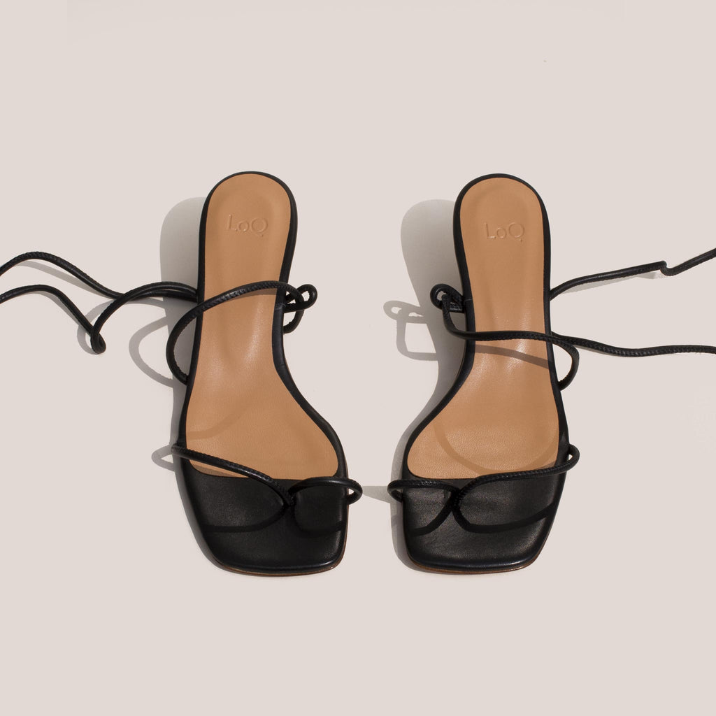 Loq - Roma Sandals - Black, front view.