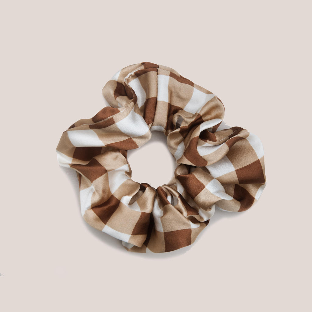 Ganni - Scrunchie - Toffee Plaid, available at LCD.