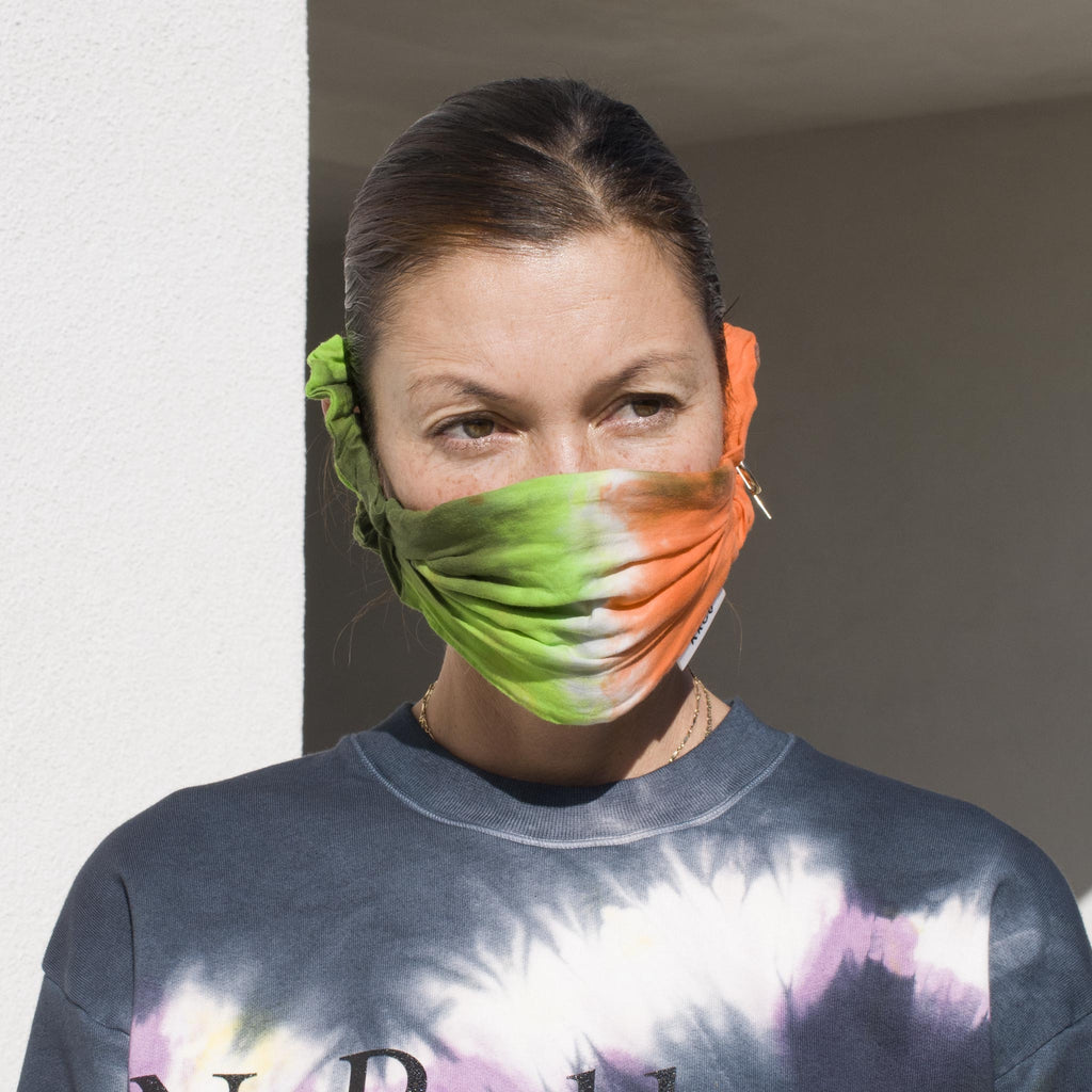 Kkco - Scrunchie Face Covering in Carrots Tie Dye, an LCD Exclusive, on model.