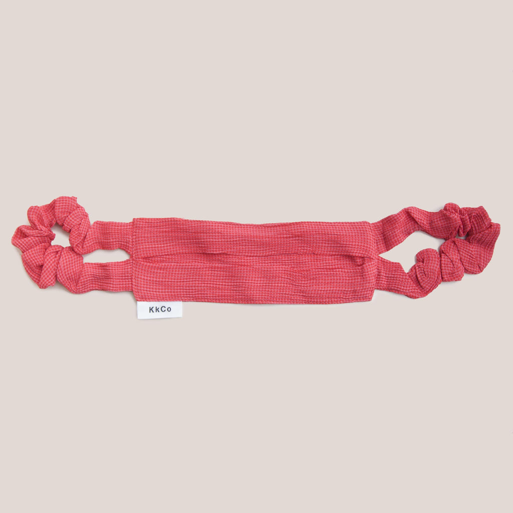 KKCO - Scrunchie Face Mask - Red Check, available at LCD.