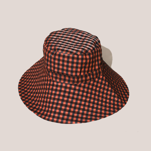 Ganni - Seersucker Bucket Hat - Flame.