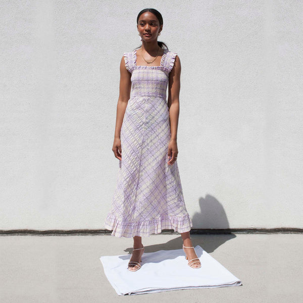 Ganni, Seersucker Check Maxi Dress - Orchid Bloom, available at LCD.