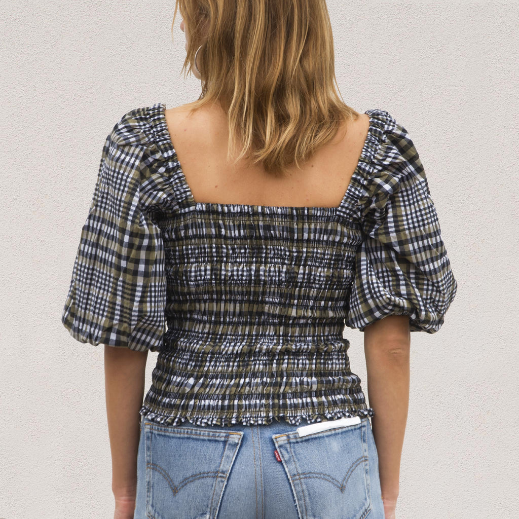 Ganni - Seersucker Smock Top - Kalamata Check, back view, available at LCD.