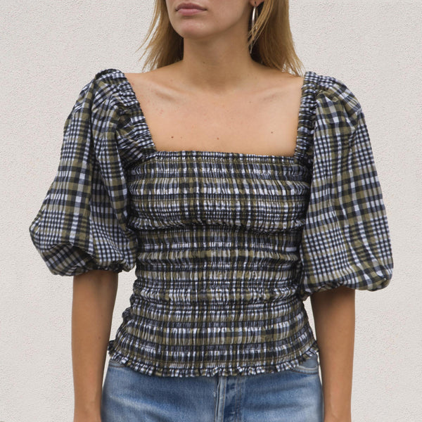 Ganni - Seersucker Smock Top - Kalamata Check, front view, available at LCD.