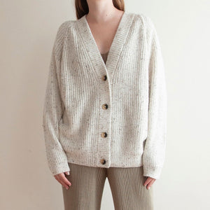 Lauren Manoogian - Shaker Cardigan - Raw White Tweed, available at LCD.