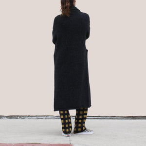 Lauren Manoogian - Long Shawl Cardigan in Black Melange, back view, available at LCD.