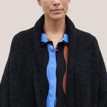 Load image into Gallery viewer, Lauren Manoogian - Long Shawl Cardigan in Black Melange, detail view, available at LCD.