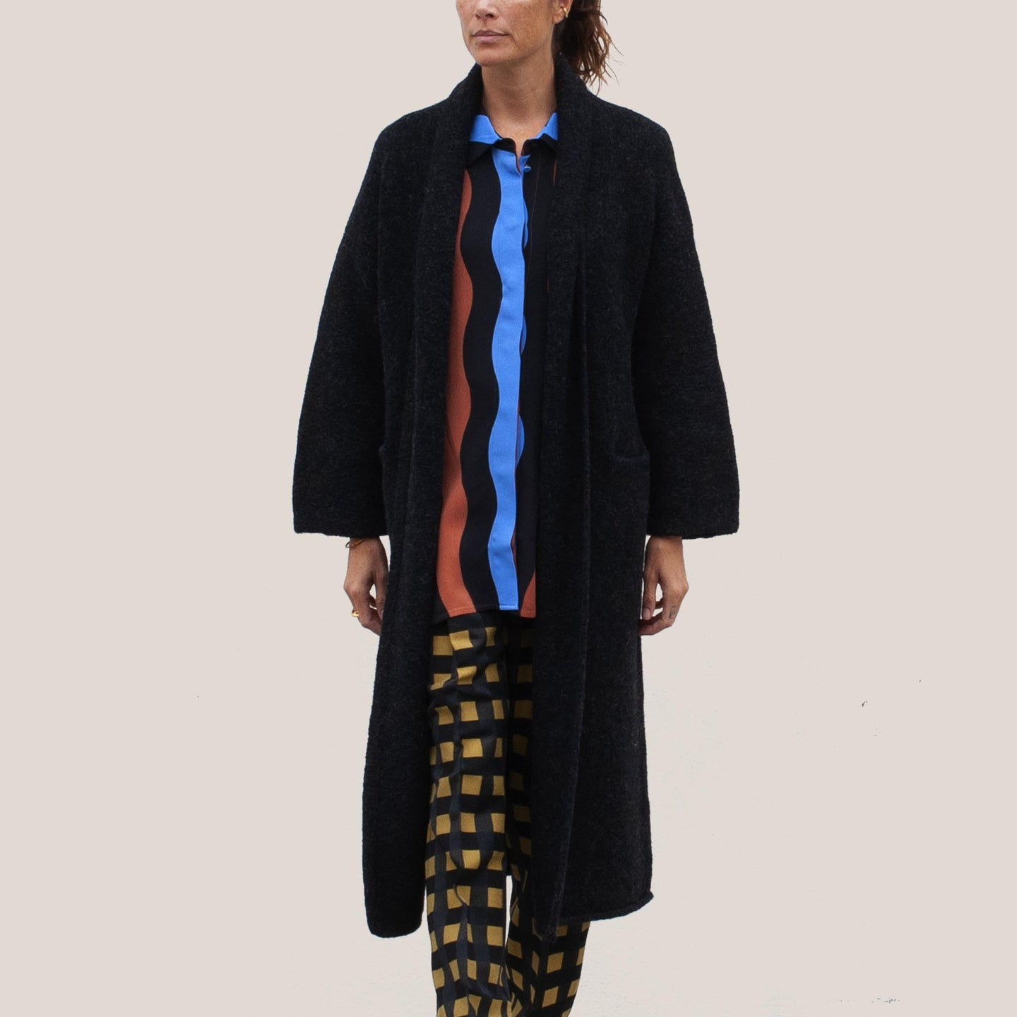 Lauren Manoogian - Long Shawl Cardigan in Black Melange, front view, available at LCD.