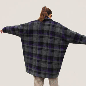 MM6 - Shearling Check Midi Coat, back view, available at LCD.