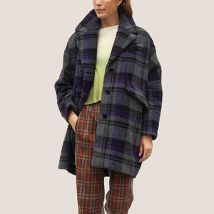 MM6 - Shearling Check Midi Coat, front view, available at LCD.