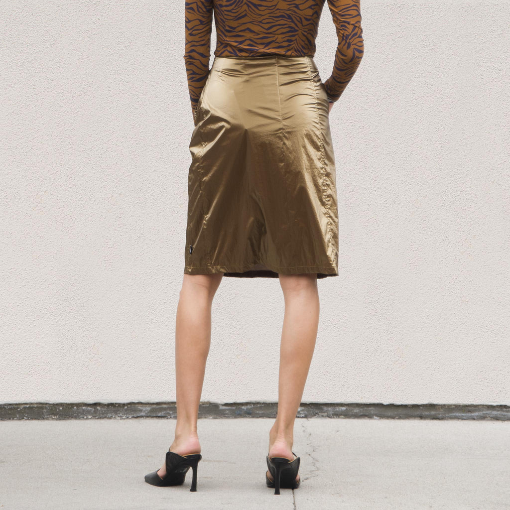 Stussy - Shiny Panel Skirt, back view, available at LCD.
