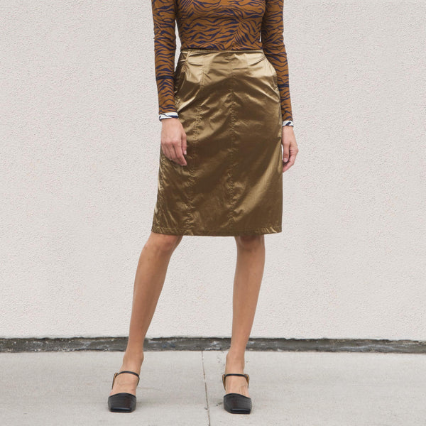 Stussy - Shiny Panel Skirt, front view, available at LCD.
