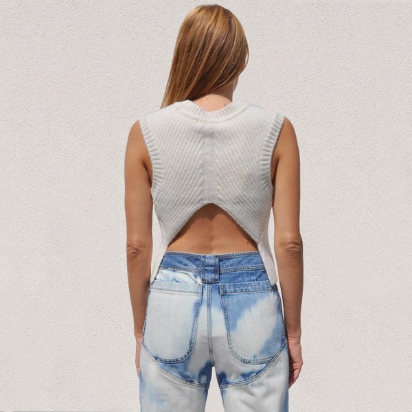 Low Classic - Short Cable Vest, back view, available at LCD.