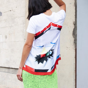 Delada - Silk Scarf Top, rear view, available at LCD.