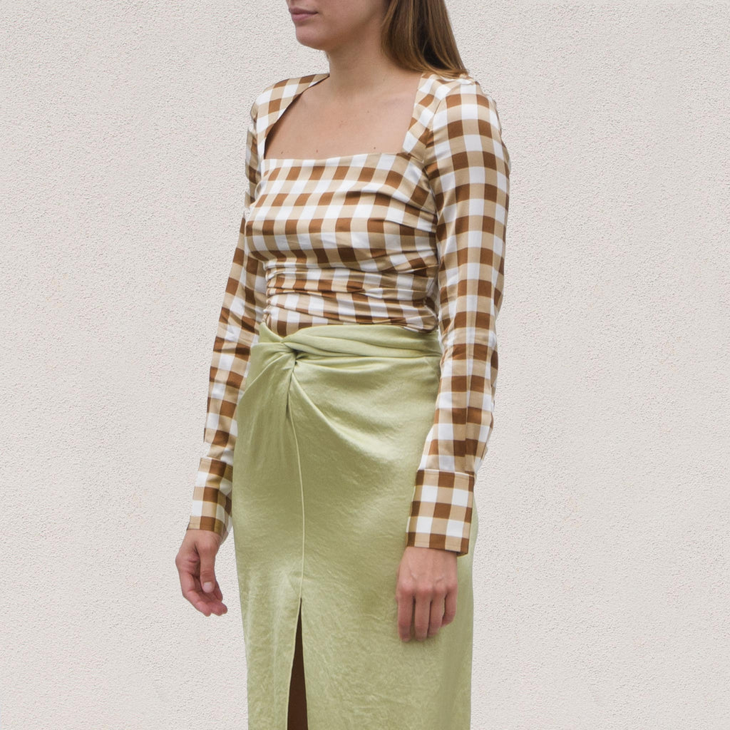 Ganni - Silk Stretch Blouse - Toffee Plaid, angled view, available at LCD.