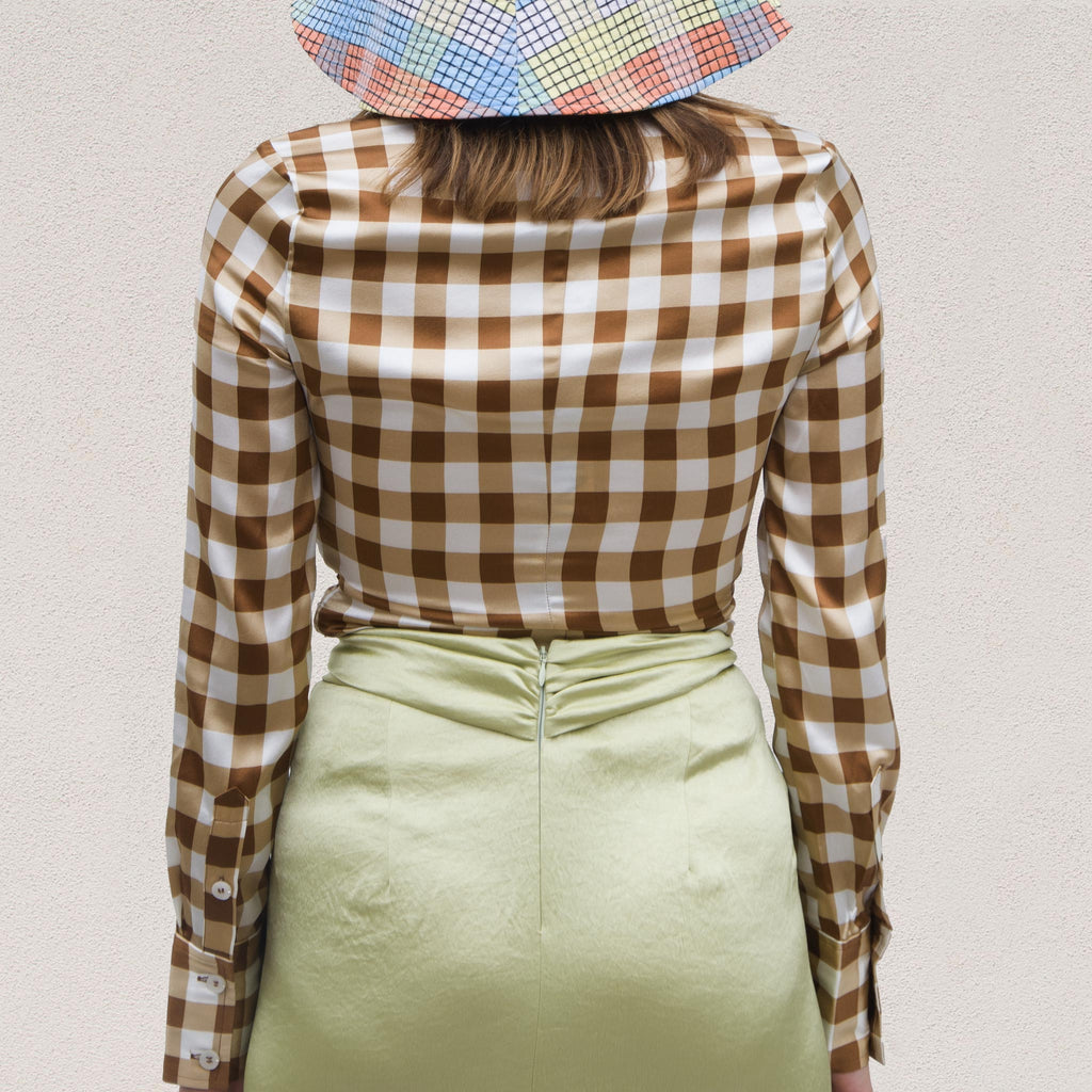 Ganni - Silk Stretch Blouse - Toffee Plaid, back view, available at LCD.